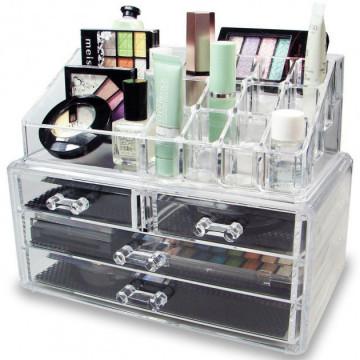 Квадратный Органайзер для косметики с 4-мя ящиками Cosmetic Storage Box