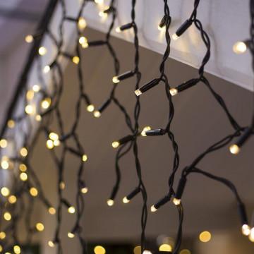 Черный провод-Светодиодная Гирлянда-Бахрома 9м-теплый белый свет