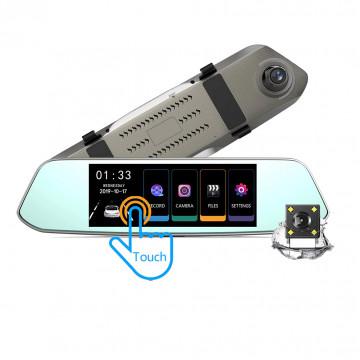 Автомобильный видеорегистратор-зеркало с двумя камерами и сенсорным экраном